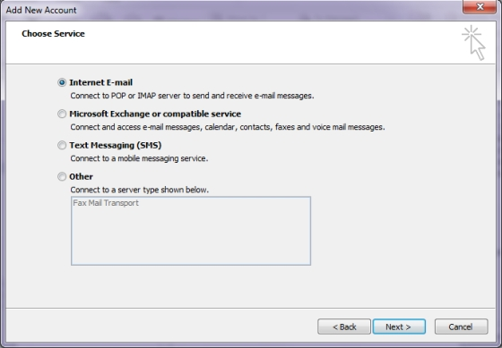 Microsoft Outlook 2010 - Choose Service