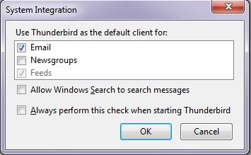Mozilla Thunderbird System Integration dialog