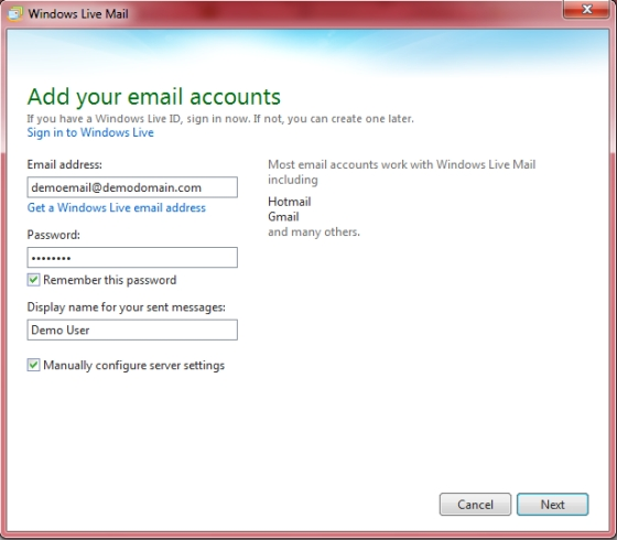 Windows Live Essentials 2011 - add your email accounts