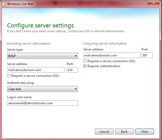 Windows Live Essentials 2011 - IMAP/SMTP settings